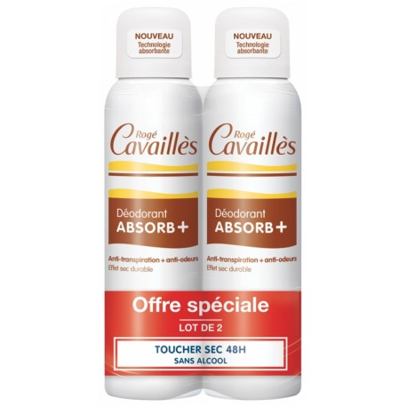 ROGE CAVAILLES DEO ABSORB+ ANTI-TRANSPIRATION + ANTI-ODEURS SPRAY LOT 2X 150ML