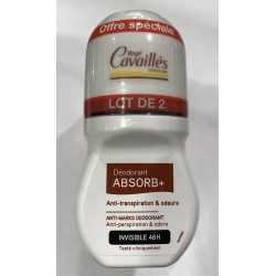 ROGE CAVAILLES DEO ABSORB+ ANTI-TRANSPIRATION ET ODEURS INVISIBLE 48H ROLL-ON LOT 2X 50ML