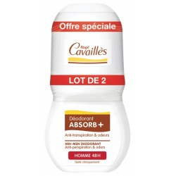 ROGE CAVAILLES DEO ABSORB+ HOMME 48H ANTI-TRANSPIRATION ET ODEURS ROLL-ON LOT 2X 50ML
