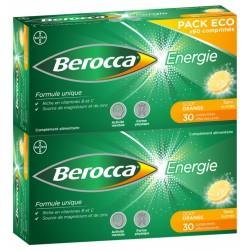 BEROCCA ENERGIE SANS SUCRE GOUT ORANGE LOT 2X 30CP EFFERVESCENTS