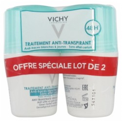 VICHY DEODORANT ANTI-TRANSPIRANT ANTI-TRACES BLANCHES ET JAUNES ROLL ON LOT 2